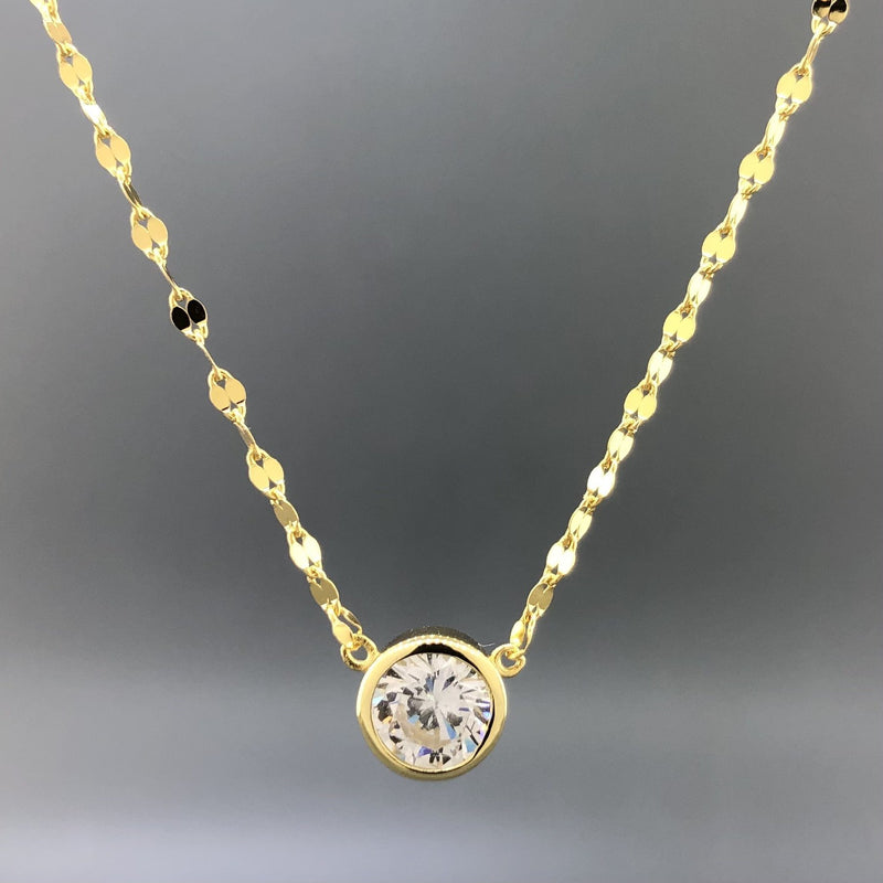 Sterling silver yellow gold plated bezel set cubic zirconia necklace - Walter Bauman Jewelers