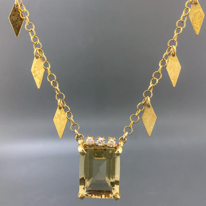Sterling Silver Yellow Gold Plated Colored Gemstone Necklace - Walter Bauman Jewelers