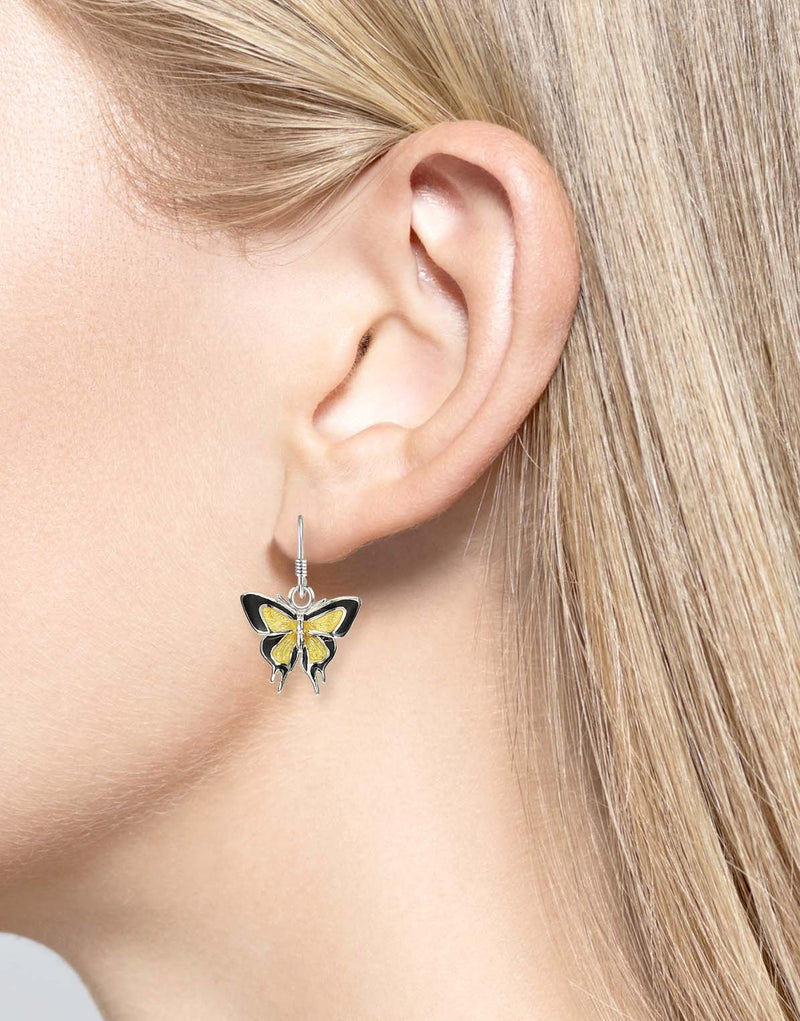 Yellow & Black Butterfly Wire Earrings with Sterling Silver - Walter Bauman Jewelers