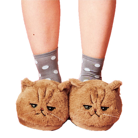 Cute PLUSH KITTEN SOFT ANIMAL home Slippers