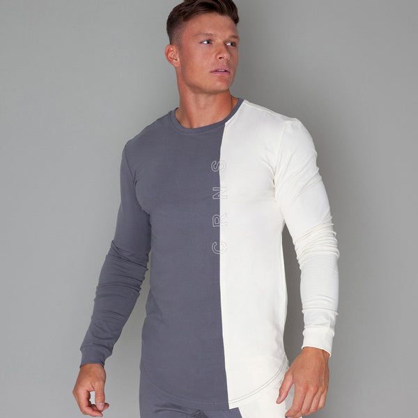 Patchwork Slim Long Sleeve Shirt - Mens Trendzz