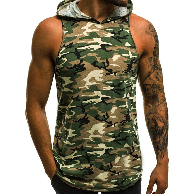 Camouflage No Bounds Hooded Tank Top - Mens Trendzz