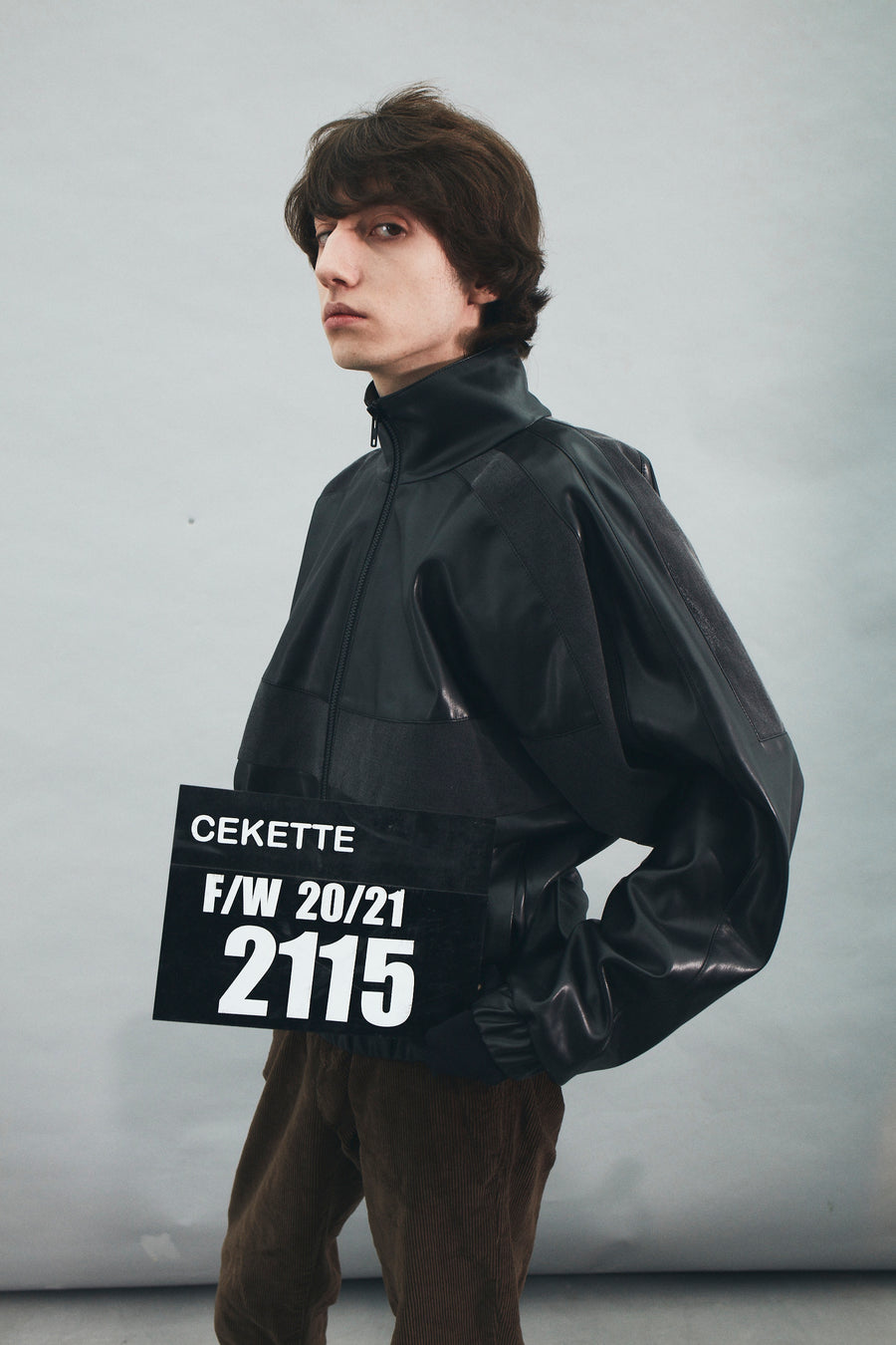 2115 FAUX-LEATHER BOMBER JACKET