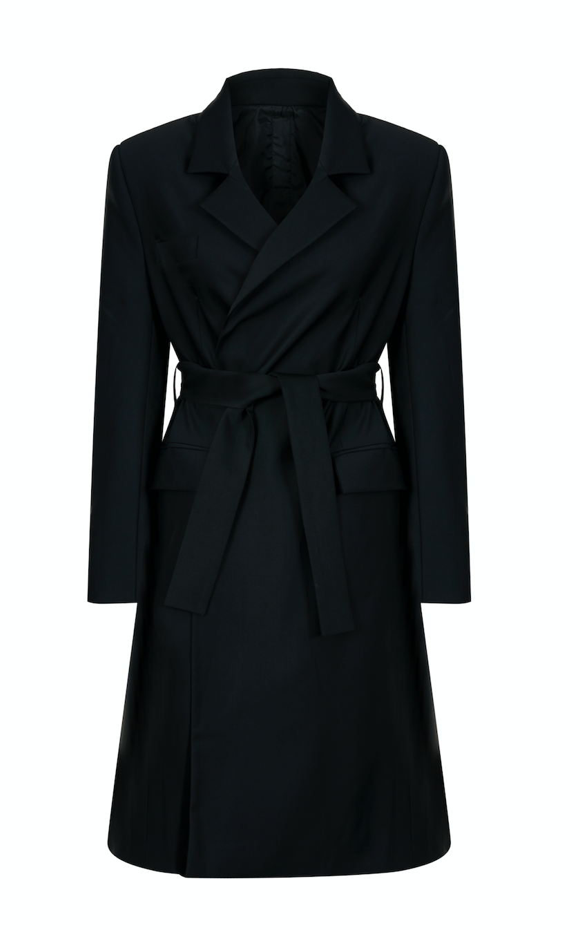 2112 WOOL-BLEND TRENCH COAT WITH PLEAT BACK