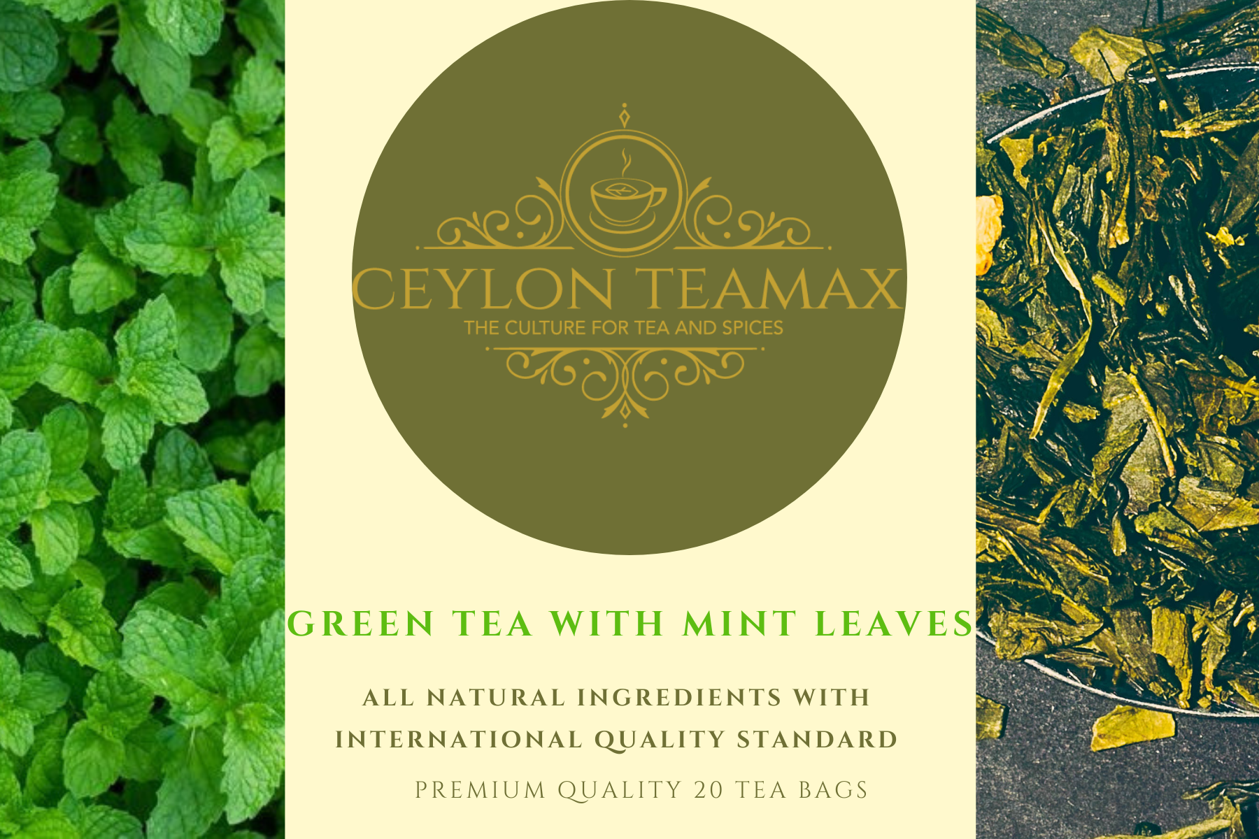 NATURAL MINT LEAVES WITH CEYLON GREEN TEA - PREMIUM QUALITY STAPLE LESS TEA BAGS - Ceylon Teamax