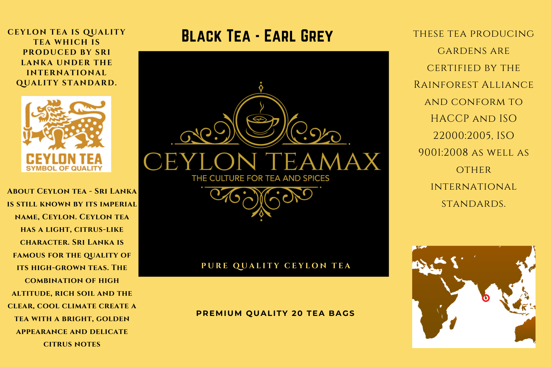 CEYLON BLACK TEA | EARL GREY - PREMIUM QUALITY PYRAMID STAPLE LESS TEA BAGS