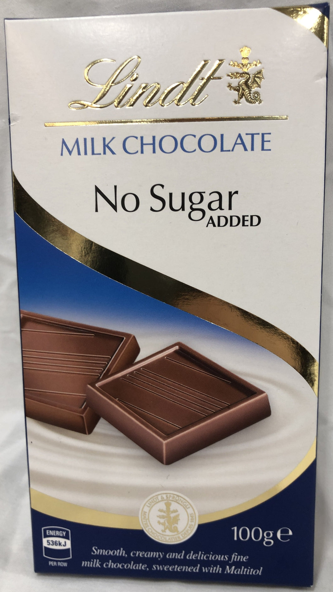 Lindt No Sugar Added Milk Chocolate Block