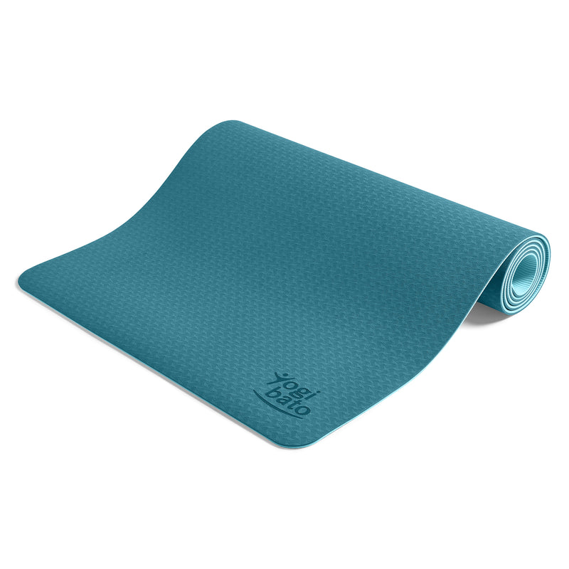 Yogibato Yoga Mat Balance Ocean partially rolled up showing non-slip surface and bottom from the side