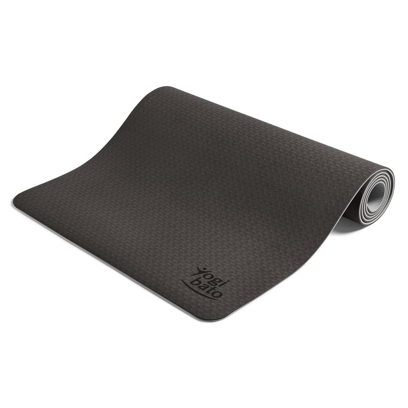 Yogibato Yoga Mat Balance Midnight partially rolled up showing non-slip surface and bottom from the side