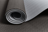 Yogibato Yoga Mat Balance Midnight partially rolled up showing non-slip surface and bottom with close up of structure