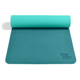 Yogibato Yoga Mat Balance Emerald partially rolled up showing non-slip surface and bottom for yoga practice
