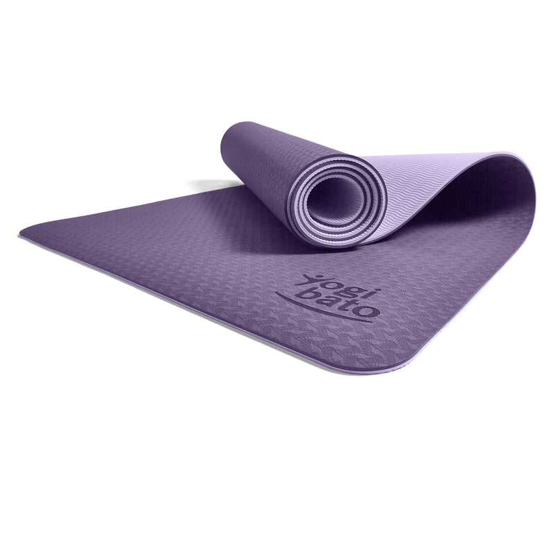 Yogibato Yoga Mat Balance Lilac partially rolled up showing non-slip surface and bottom from profile angle