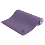 Yogibato Yoga Mat Balance Lilac partially rolled up showing non-slip surface and bottom from the side