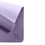 Yogibato Yoga Mat Balance Lilac partially rolled up showing non-slip surface and bottom from above