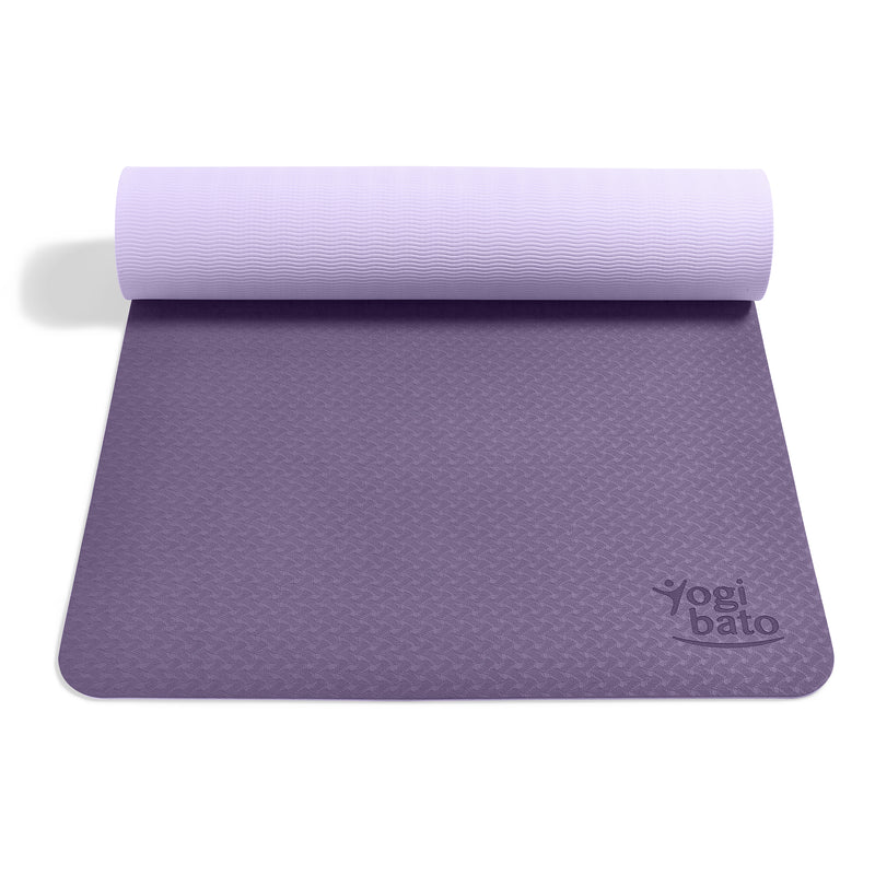 Yogibato Yoga Mat Balance Lilac partially rolled up showing non-slip surface and bottom for yoga practice