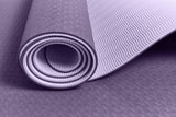 Yogibato Yoga Mat Balance Lilac partially rolled up showing non-slip surface and bottom with close up of structure