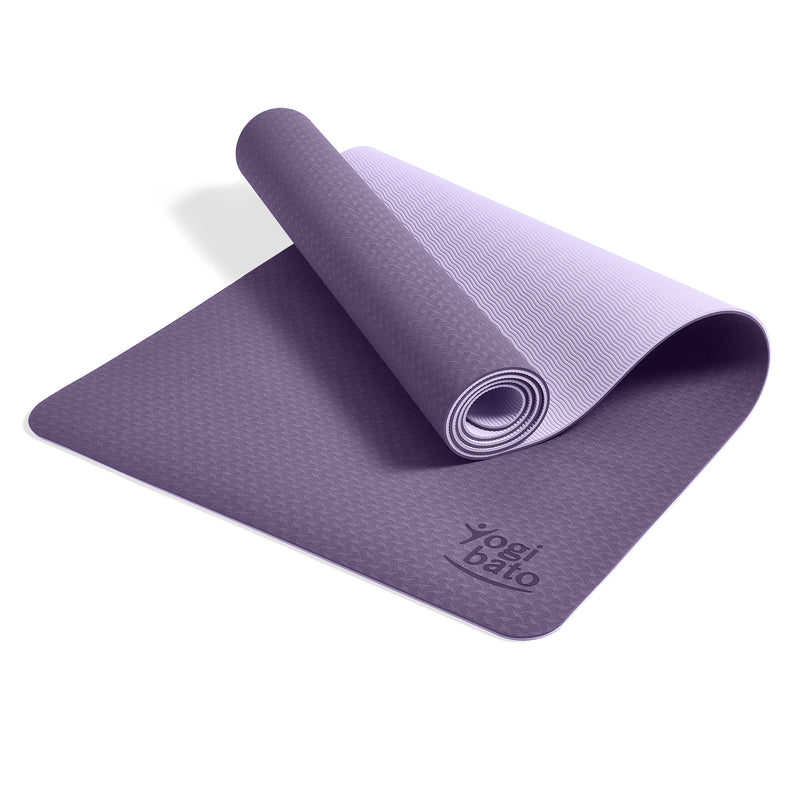 Yogibato Yoga Mat Balance Lilac partially rolled up showing non-slip surface and bottom with carry strap