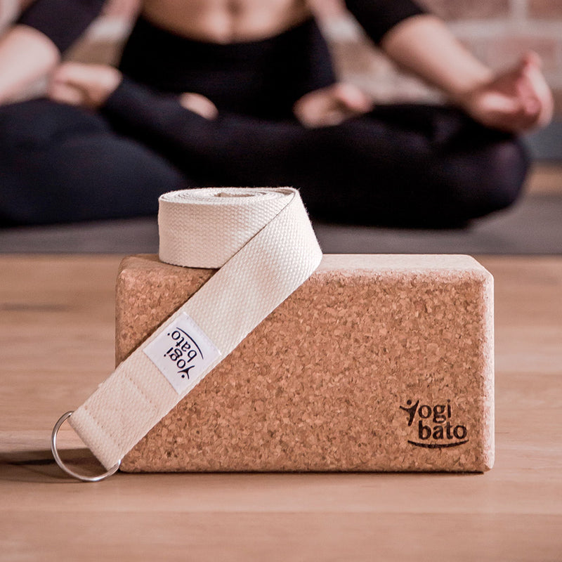 Yogi in the background with Yogibato Yoga set consisting of light-blue yoga strap and yoga block cork