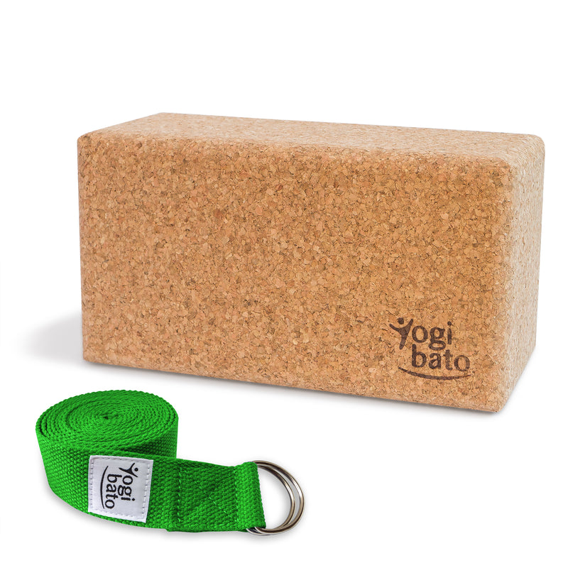 Rolled up Yogi bato Yoga belt in green with logo with D-ring and yoga block made of cork