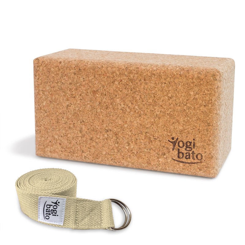 Rolled up Yogi bato Yoga belt in Natural with logo with D-ring and yoga block made of cork