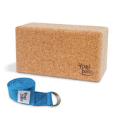 Rolled up Yogi bato Yoga belt in light-blue with logo with D-ring and yoga block made of cork