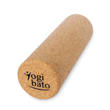 Yogibato logo on cork massage roller as sustainable alternative to foam products