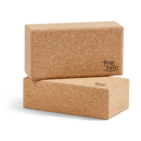 Yogibato yoga block set of 2 made of natural cork made in Portugal standing on smaller side