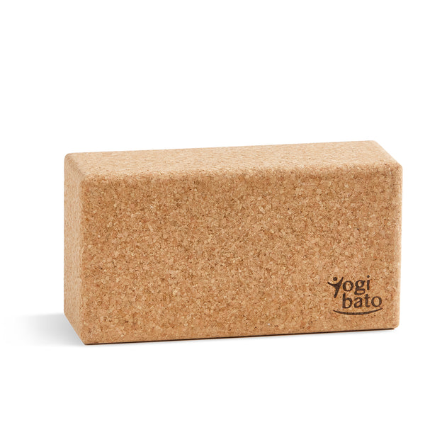 Yogibato yoga block made of natural cork made in Portugal standing on smaller side