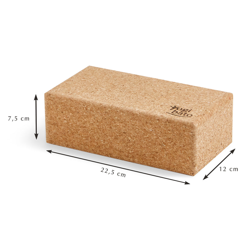 Size chart for Yogibato yoga block made of natural cork from Portugal