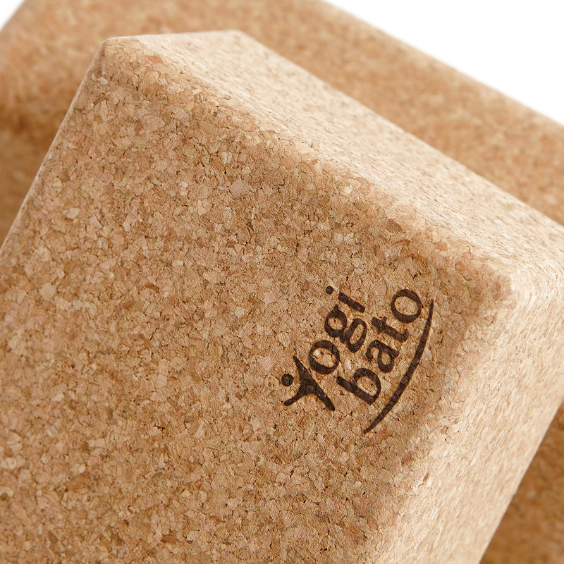 Close up Yogibato yoga bricks cork showing natural non-slip cork structure