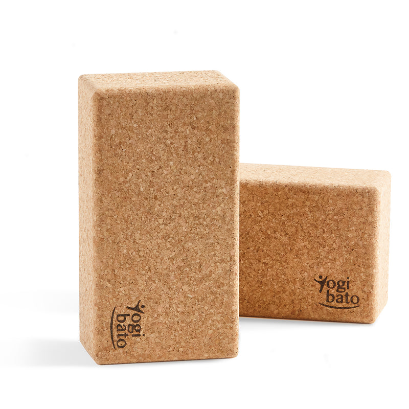 Double pack yogi bato yoga blocks made of natural cork from Portugal one standing and one lying
