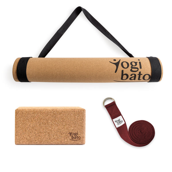 Yogibato Yoga Premium Set consisting of a yoga mat cork and one yoga block and a cotton yoga strap in Bordeaux