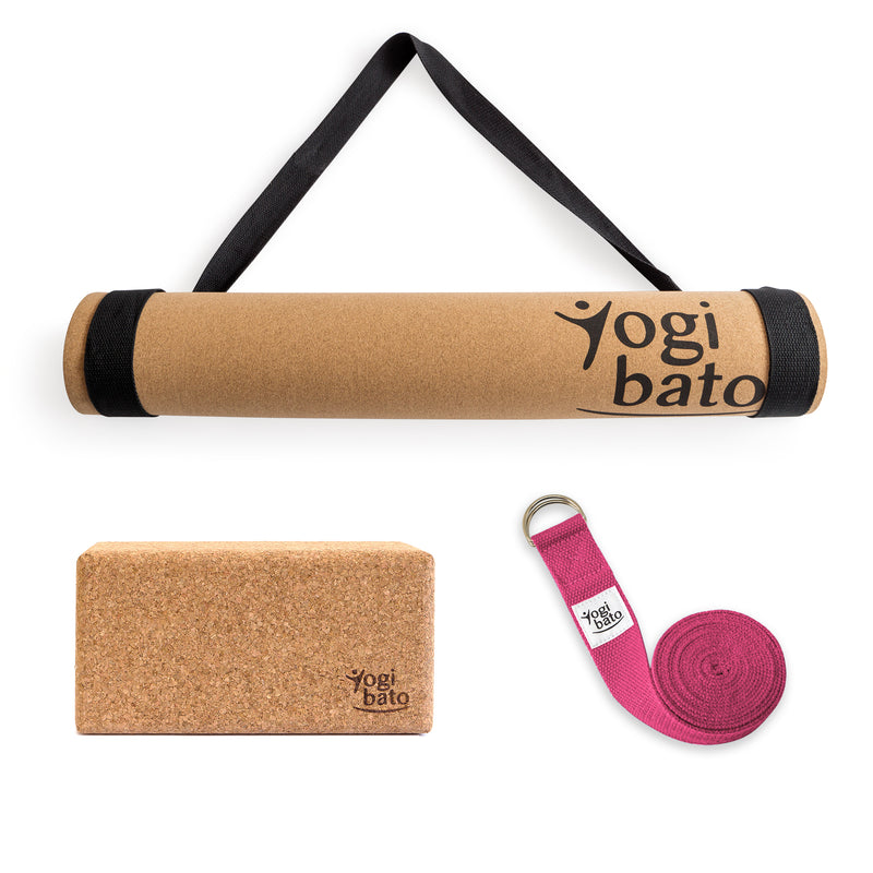 Yogibato Yoga Premium Set consisting of a yoga mat cork and one yoga block and a cotton yoga strap in Fuchsia