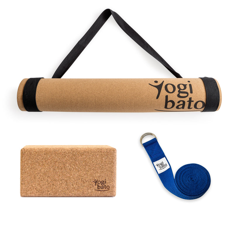 Yogibato Yoga Premium Set consisting of a yoga mat cork and one yoga block and a cotton yoga strap in Blue