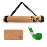 Yogibato Yoga Premium Set consisting of a yoga mat cork and one yoga block and a cotton yoga strap in Green