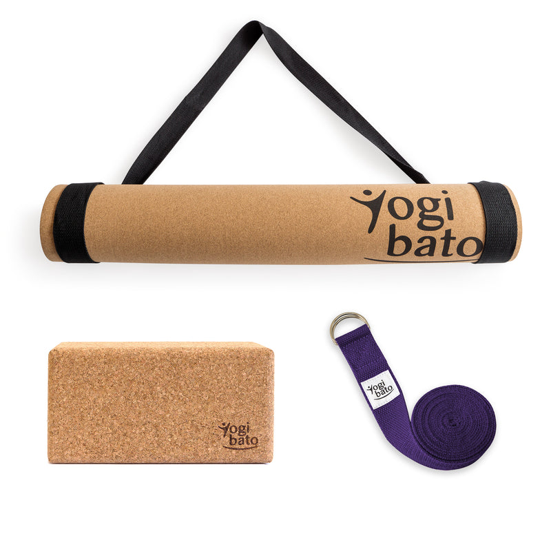 Yogibato Yoga Premium Set consisting of a yoga mat cork and one yoga block and a cotton yoga strap in Lavender