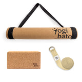 Yogibato Yoga Premium Set consisting of a yoga mat cork and one yoga block and a cotton yoga strap in Natural