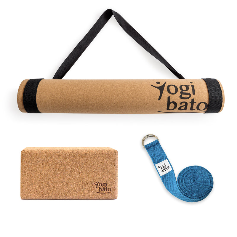Yogibato Yoga Premium Set consisting of a yoga mat cork and one yoga block and a cotton yoga strap in light blue