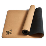 yoga mat cork made of sustainable materials with non-slip surface on the floor showing Yogibato logo