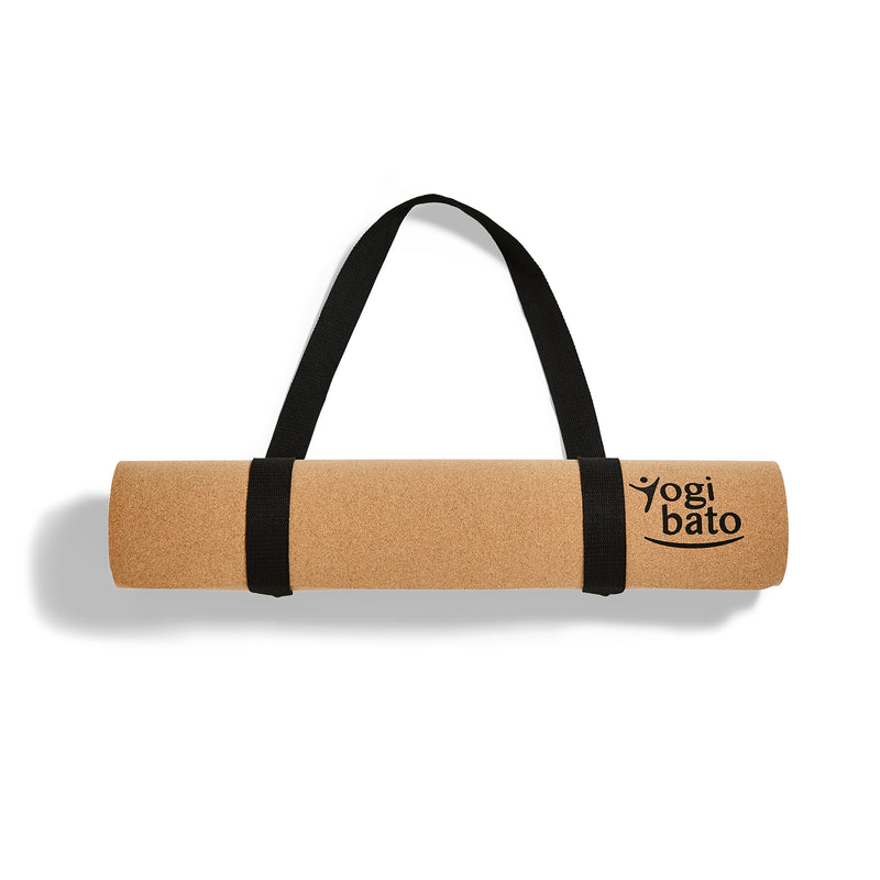 yogi bato yoga mat cork with carrying strap to carry meditation mat over the shoulder