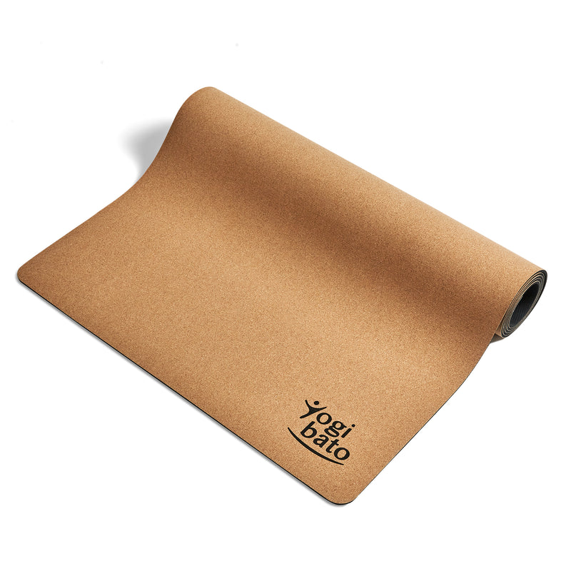 Yogibato yoga mat cork made of natural cork and rubber partially rolled