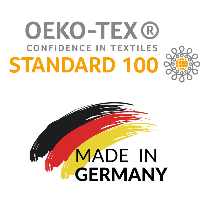 Yogibato Studio mats are made in Germany and are certified with oeko tex 100 standard blue grey