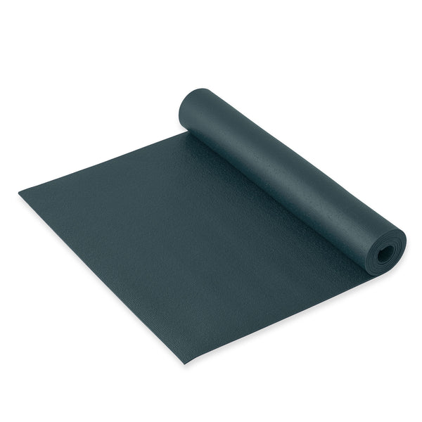 Yogibato Yoga Mat Studio on the floor with non-slip texture made from PVC in Germany and oeko tex certificate in color Blue Grey