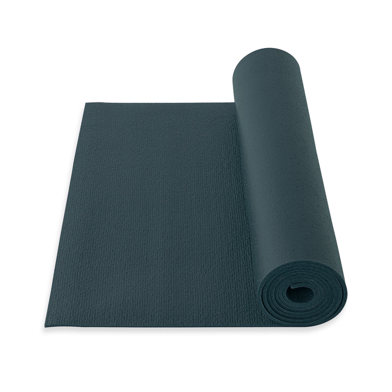 Yogibato Yoga Mat Studio partially rolled with extra grip structure made in Germany and oeko tex certificate in color Blue Grey