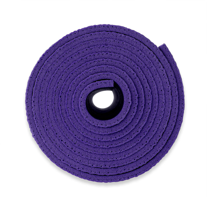 Yogibato Yoga Mat Studio rolled up showing thickness for maxiumum comfort made in Germany and oekotex certificate in color Lavender
