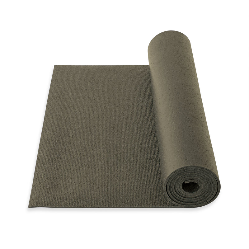 Yogibato Yoga Mat Studio partially rolled with extra grip structure made in Germany and oeko tex certificate in color Taupe