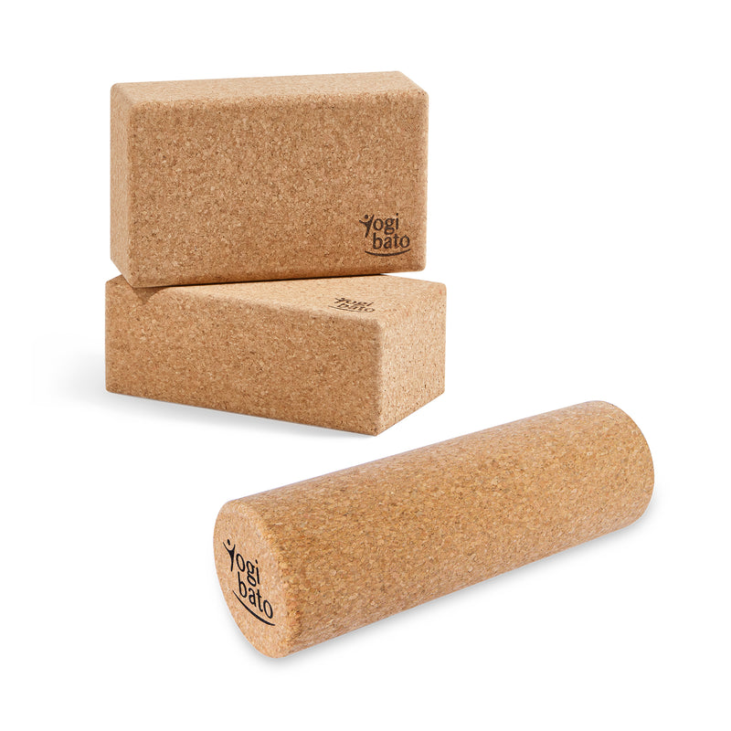 Yogibato Set of 2 Yoga Cork Blocks and a Trigger Point Massage Roller made in Portugal on white background