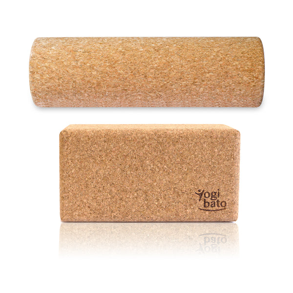 Yogibato Set of 2 Yoga Cork Blocks and a Trigger Point Massage Roller made in Portugal with mirror effect
