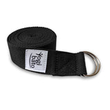 Rolled up Yogibato Yoga belt in Black with logo with 2 D-rings made of metal as buckle