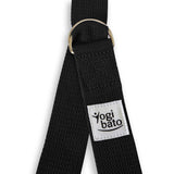 Closed Yogibato Yoga belt in Black with logo with 2 D-rings made of metal as buckle